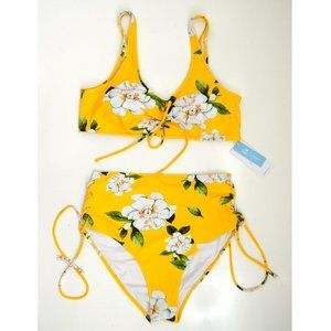 Cupshe Yellow Floral Lace Up High Waist Bikini NEW